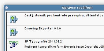 LibreOffice - správce rozšíření