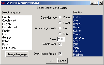Dialogové okno Scribus Calendar Wizard